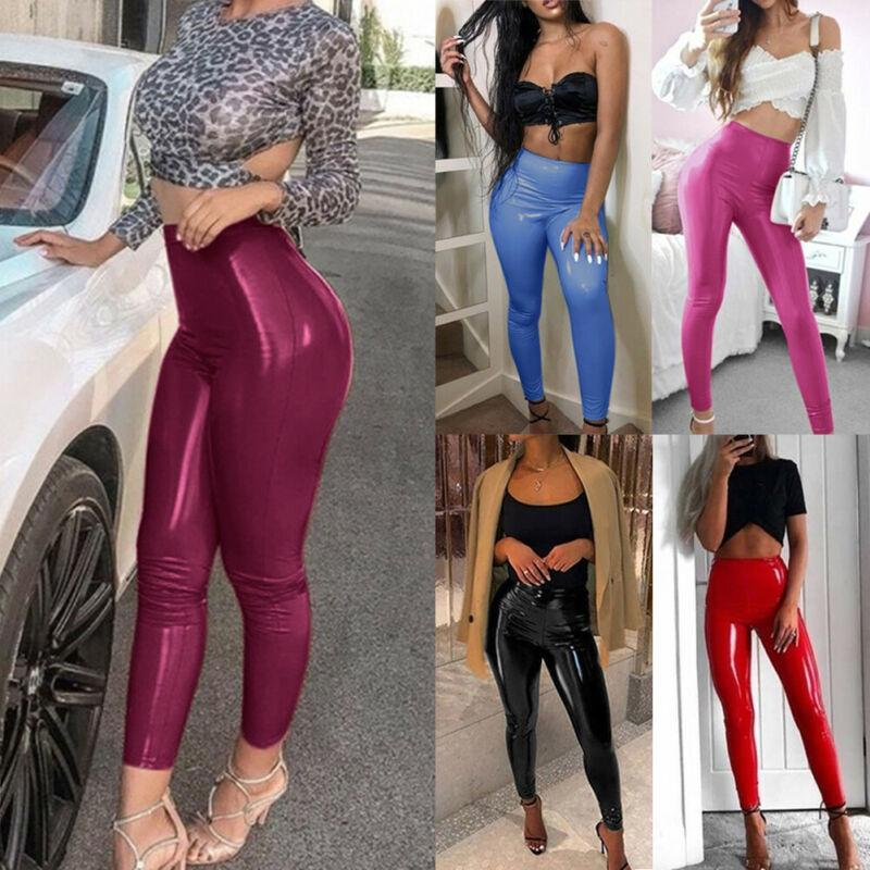 Womens Ladies PV Leather High Waist PU Leggings Wet Look Stretch Trousers Pants