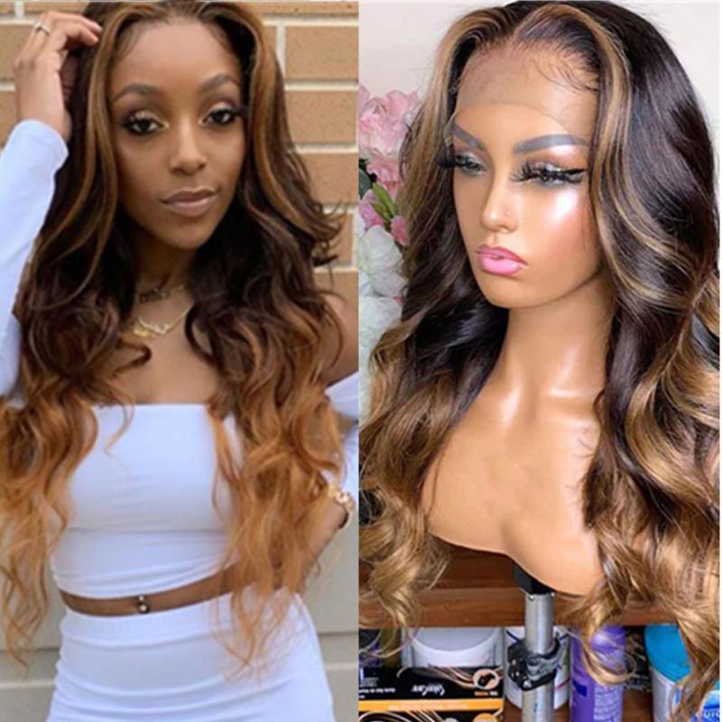 4 27 Ombre resaltado humano peluca de pelo marrón miel rubio color 13x6 pelucas frontales de encaje para mujeres negras cuerpo brasileño ondulado remy pelo