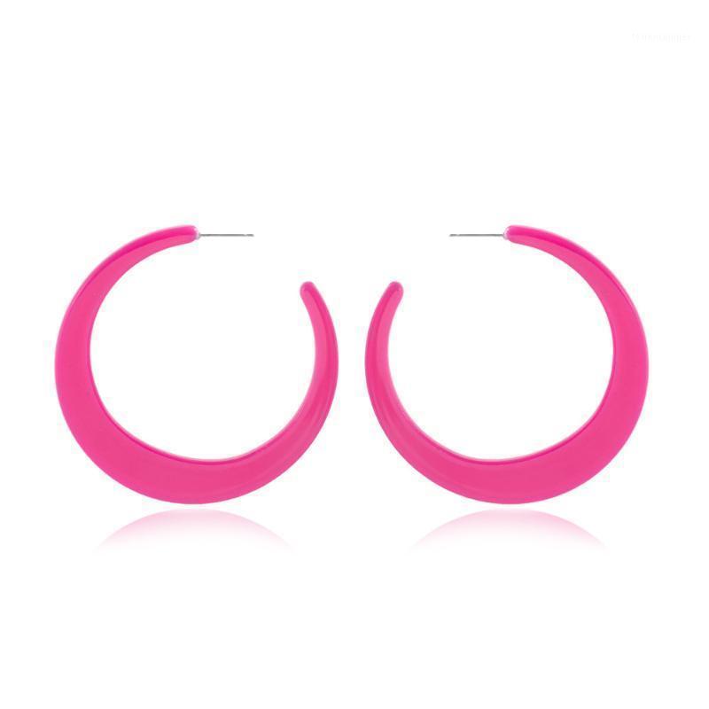 Hoop Huggie Модные Красочные Акриловые Большие Серьги Для Женщин Уксусная кислота C Форма Круг Серьги Женская Партия Мода Ювелирные Изделия 20211