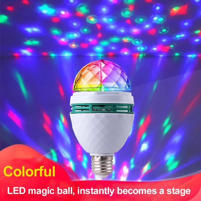 Mini RVB Lampe rotative en couleur 3W E27 85-265V Effet de stade rotatif automatique automatique Mini DJ Mini DJ Disco Stage Ampoule LED