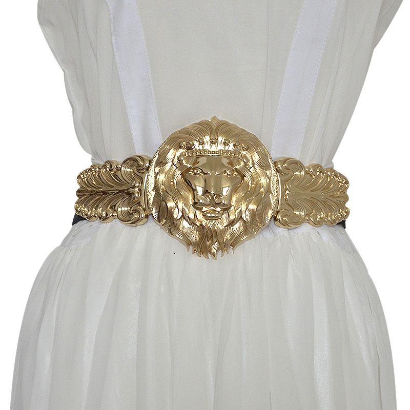 Golden Lion Head Женщины Girdle Металл Круглой Пряжка Преувеличение Пояс для женщин Черного Waistband Gold Seal резинки