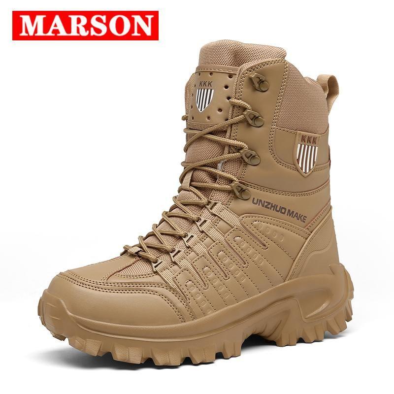 2020 in pelle nuovi uomini marca di alta qualità Stivali Special Force tattico Desert Combat Maschio sistema esterni della caviglia di pattini