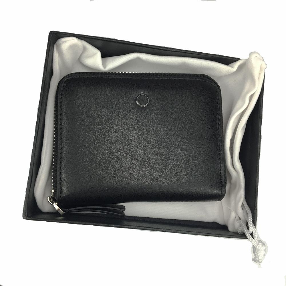 carta regalo in pelle borsa cerniera nera multi-card slot per ID di business di credito Portafoglio uomo di lusso di trasporto libero
