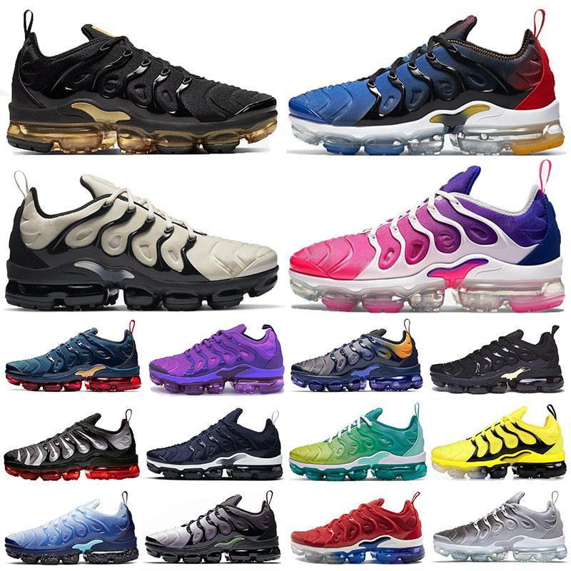 vapormax tn Plus vapor max حذاء رياضي رجالي مقاس كبير 13 وردي لامع وذهبي للجري أرجواني اللون البنفسجي هايبر ليمون لايم حذاء رياضي للنساء