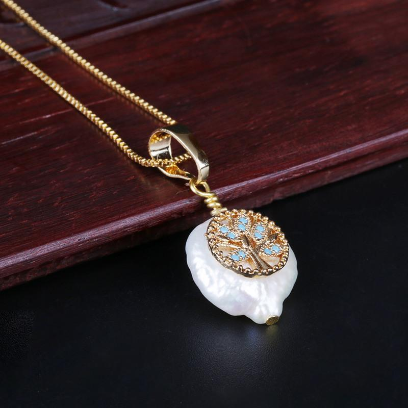 микро проложили мятный зеленый CZ дерево жизни очарование пресноводного жемчуга шарик лакомство золото звено цепи кулон колье ожерелья для женщин