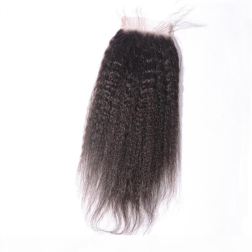 Melhores Kinky retas Lace Closures Virgin Cabelo Humano 4X4 Top Closures Piese Weave grátis parte natural Angelawigs Hairline