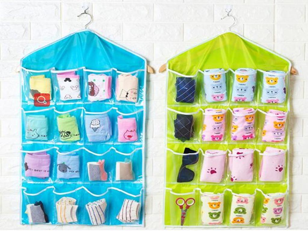 16 개 포켓은 두꺼운 다기능 지우기 양말 브라 화장품 속옷 정렬 저장 문 벽 옷장 주최자 가방을 매달려