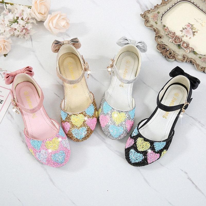 Bambini scarpe di cristallo bambino punta rotonda Donne tacco alto Cenerentola principessa Prestazioni Pompe ragazze dei bambini di Mary Janes Glitter Scarpe g0Zi #