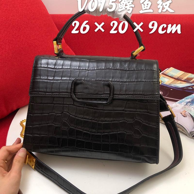 Fashion Handbags Chain Crossbody Bag Alligator Pattern Genuine Leather Tote Bags Detachable Shoulder Strap Front Flap With V Hasp High Quality