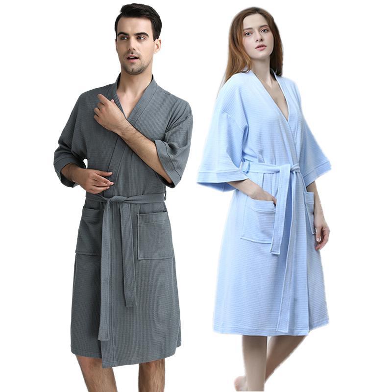 Erkekler 100% Pamuk Emmek Ter Havlu Bornoz Mens Artı Boyutu Seksi Waffle Kimono Banyo Robe Otel Erkek Kadın Giyinme Kıyafeti Spa Elbiseler 201109