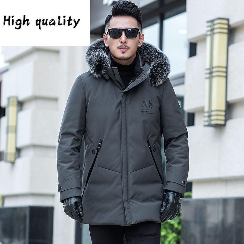 Подарочное утка Зимнее пальто Мужчины Меховой воротник Пухшестная куртка Мужчины Корейский теплый Parka Doudoune Homme1