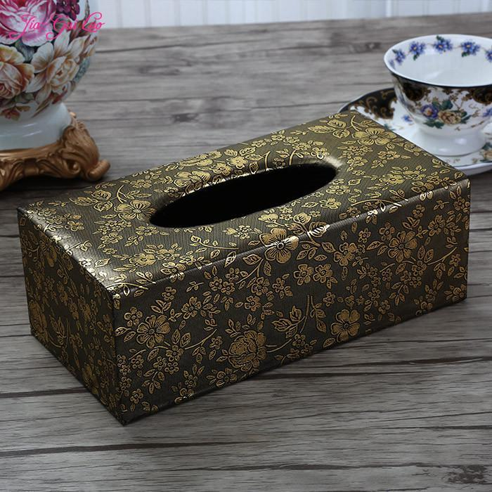 JIA-GUI LUO European-style home decoration living room restaurant leather tissue box removable paper towel Storage Box E002