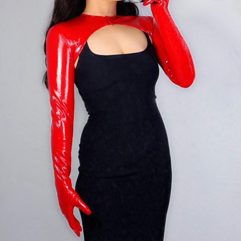 New LATEX BOLERO LUVAS Brilho Leather Faux Patent Red Top Jaqueta Curta Shrug mulheres longas luvas de couro WPU227 201104