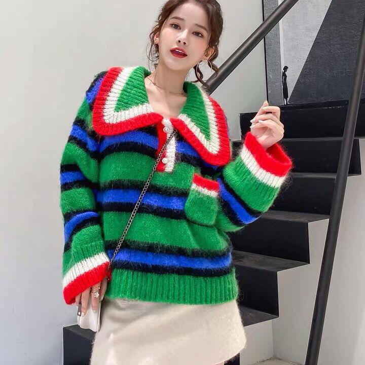 20201010 autunno e l'inverno nuovo retro banda verde contrasto grande allentato maglione usura della parte superiore delle donne risvolto