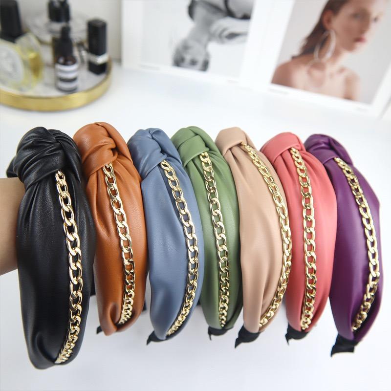 La moda punk PU Bowknot Hairband con Cadena de Oro 7 Colores lisos Sticks diadema señora de las mujeres anchas pelo de la manera Accesorios para el cabello