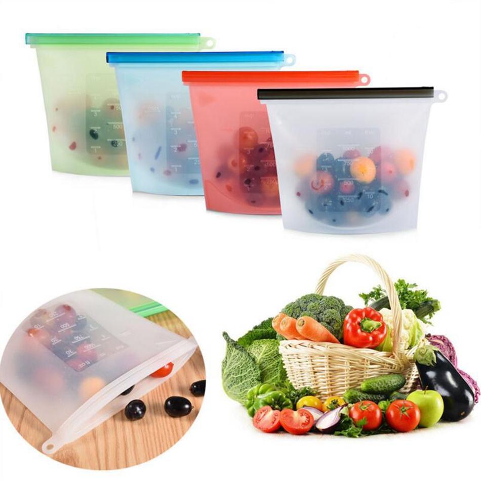 Yeniden kullanılabilir Silikon Gıda Taze Çanta sarar Buzdolabı Gıda Saklama Kapları Buzdolabı Çanta Mutfak Renkli Zip Çanta 4 Renkler 1000ml
