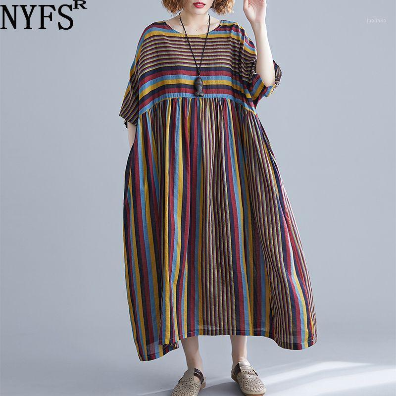 NYFS Летнее платье 2020 Новые Винтажные Полосатые Удобные Женщины Платье Литературный Большой Размер Длинные Vestidos Robe Elbise1