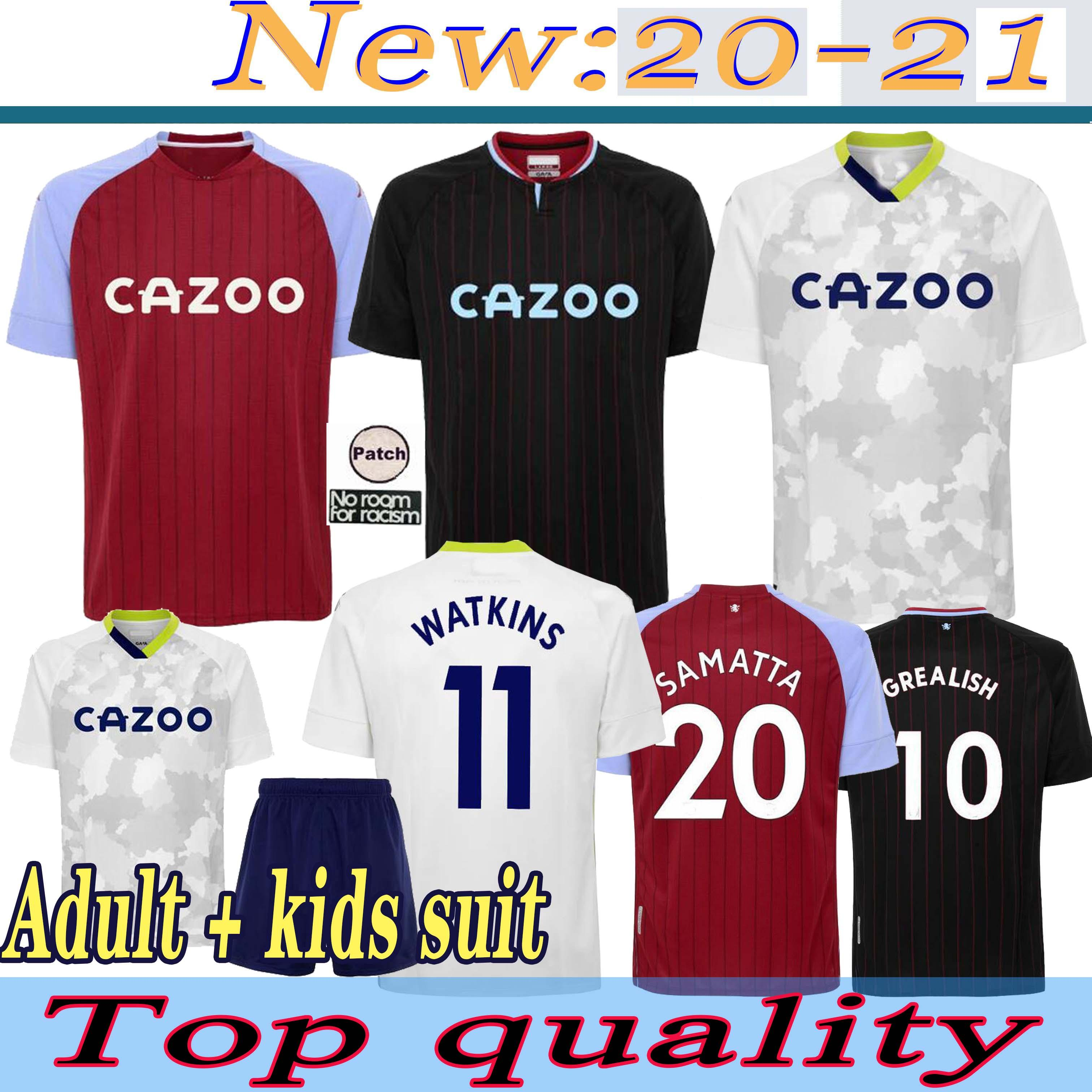 Jerseys de futebol grealish 20 21 Home Grealish M. Trezeguet Wesley El Ghazi Hourihane Douglas McGinn Barkley Watkins 2020 2021 Homem + Crianças