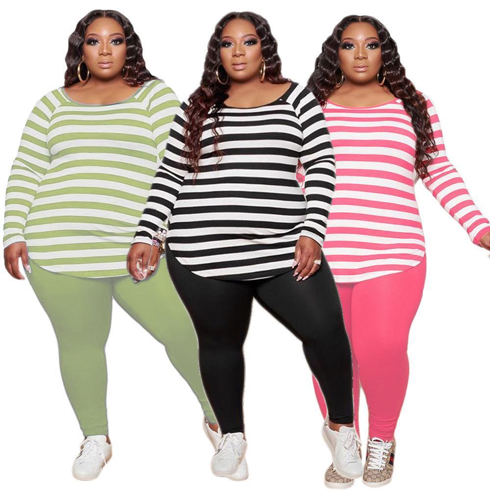 Designer Plus Size Frauen 2 Stück Outfits Mode-Streifen Printied Langarm-T-Shirt Hosen Damen Freizeit Crew Neck Pullover Hosen Sets