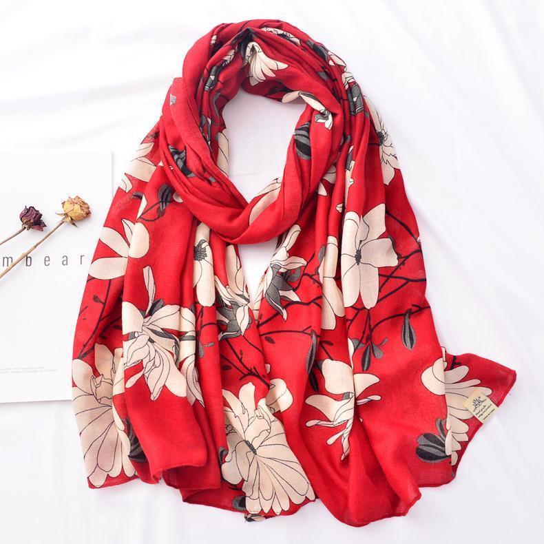 Шарфы модные мода печать шарф хлопчатобумажный солнцезащитный шаль осень и зима теплые длинные нагрудники шарфы для леди1