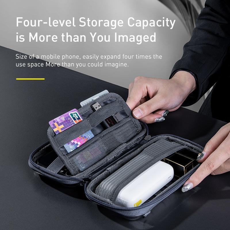 Accesorios de viaje de almacenamiento de base a prueba de golpes Organizador de auriculares Tarjeta de cable USB Cargador Teléfono móvil Caja de PC