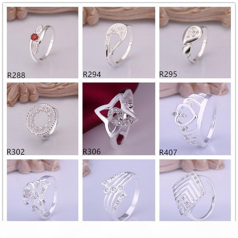 F Hot Sale High Grade Women &#039 ;S Gemstone Sterling Silver Ring 10 Pieces Mixed Style ,Wholesale Fashion 925 Silver Ring Gtr29 Facto