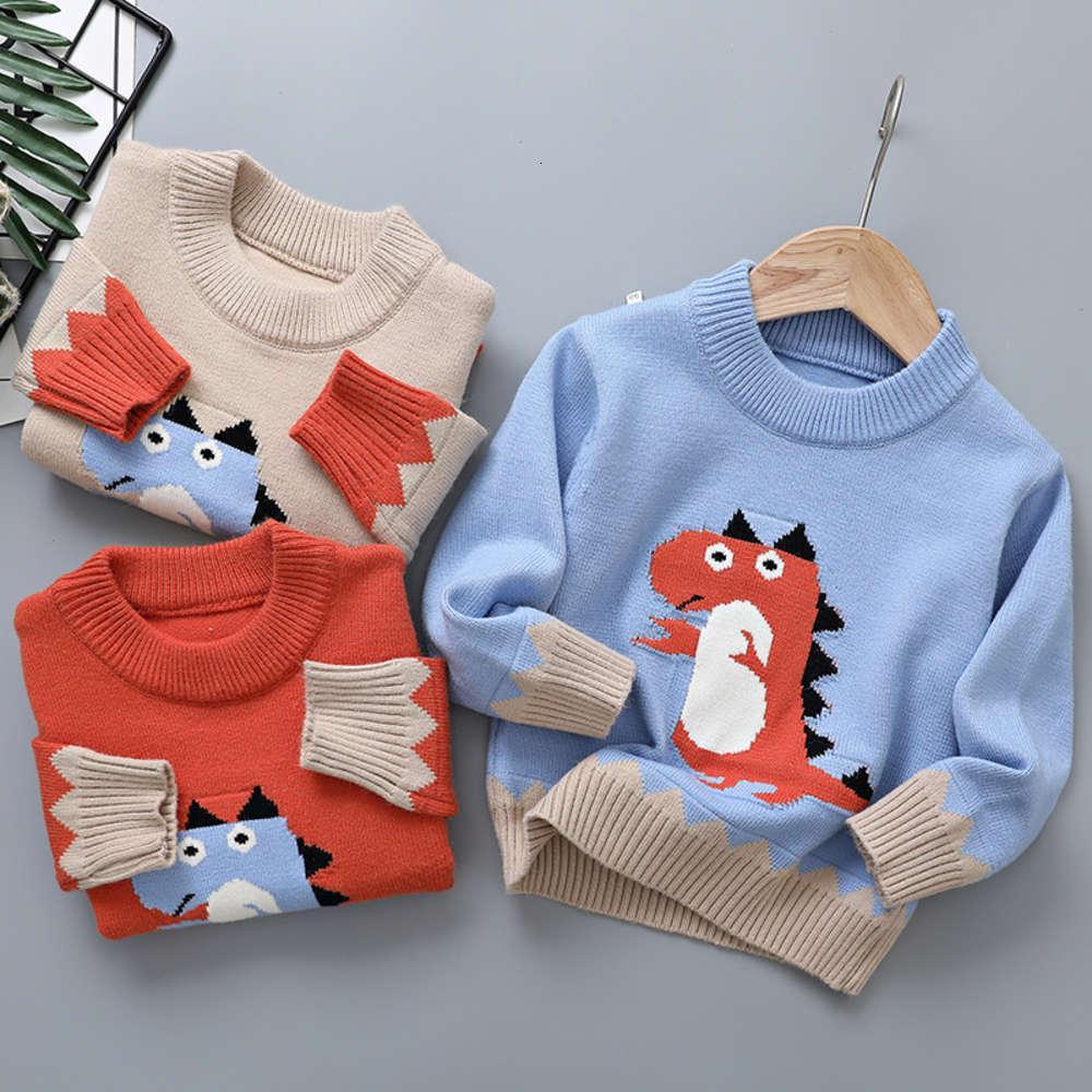 Новая зима 2020 Пуловерно Динозавр Детский вязаний Топ Детский свитер