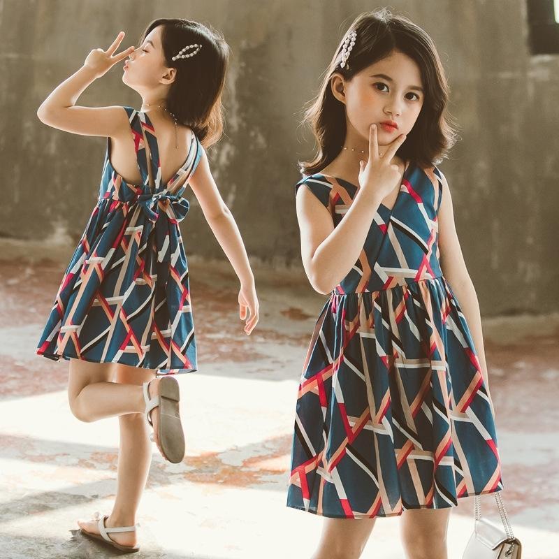 Robes pour filles Modèle de feuille Vestidos pour enfants sans manches Girls Fête Robe Enfants Teenage Filles Vêtements d'été 6 8 10 12 T200417