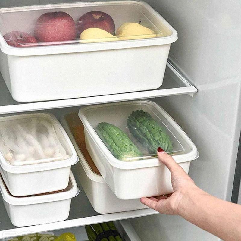 6 / 3PCS Büyük Mutfak Konteyner Kutu Buzdolabı Taze Sebzelik ile Kapak Ev Plastik Sealed Box uZOK #