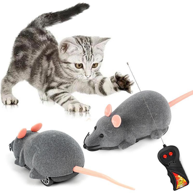 Steuerkatze Spielzeug Wireless Remote Controller Elektrische Kraft Bewegliche Kunststoff Lebensleine Flocking Simulation Maus Haustier Spielzeug