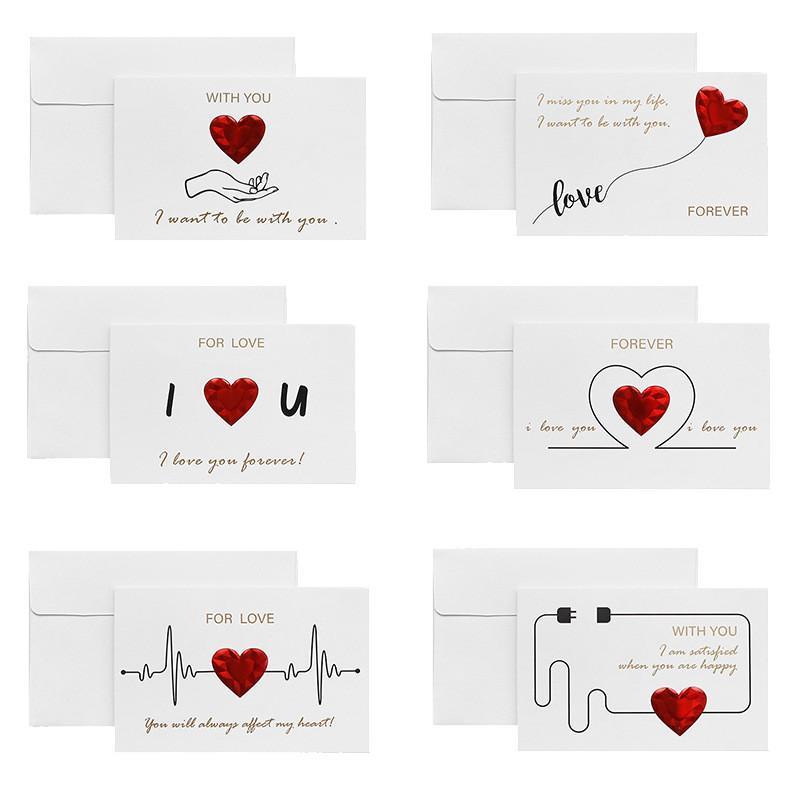 Sevgililer Günü Tebrik Kartı Kalp Baskılı Mektuplar Bronzlaştırma Tebrik Kartları Zarf Ile Düğün Yıldönümü Sevgililer Hediye DIY Kartları 165 J2