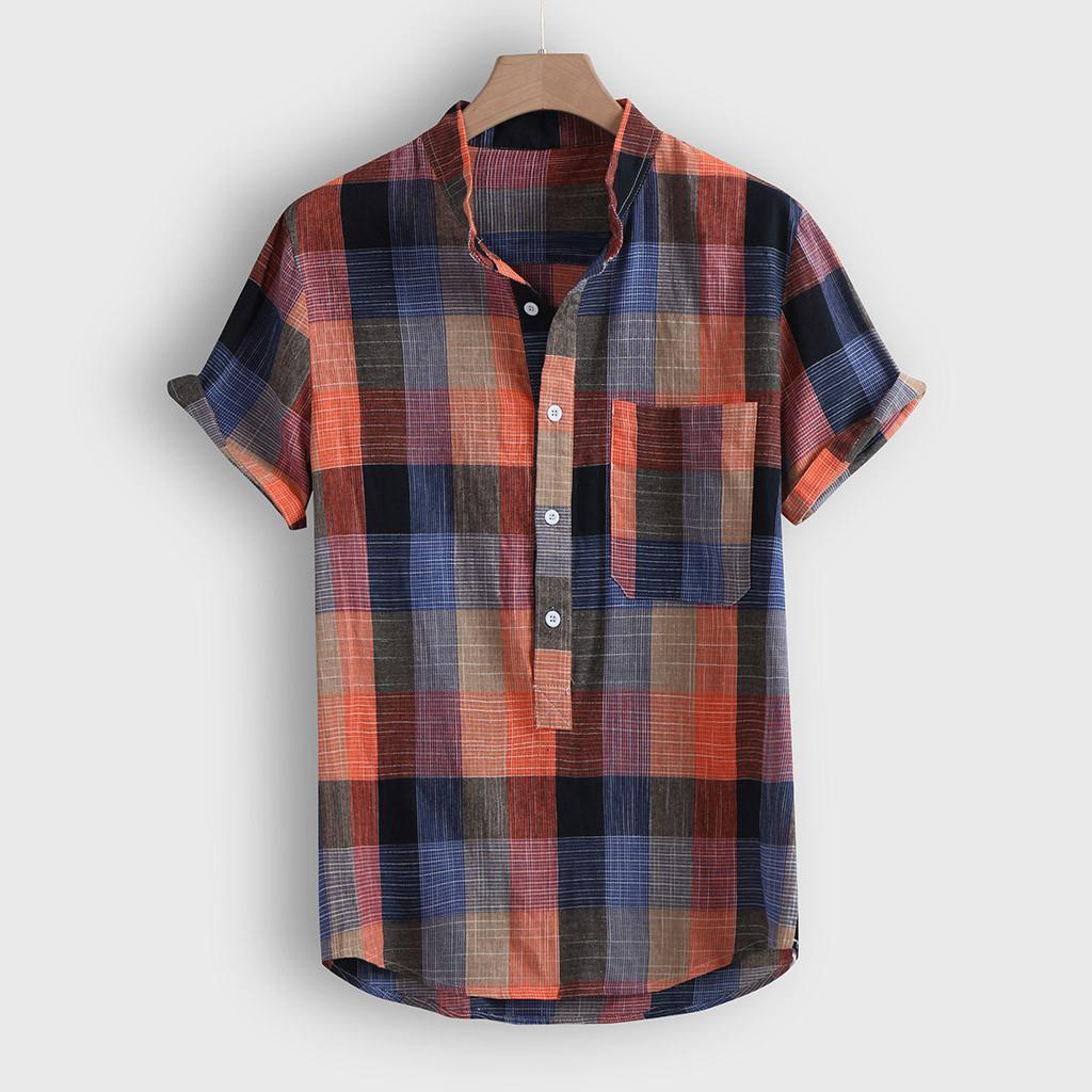 Homens Verão Blusa havaiana 2021 Botão Casual Impressão Manta Mouw Tops Camisa de Praia Blusas Camisas Masculina