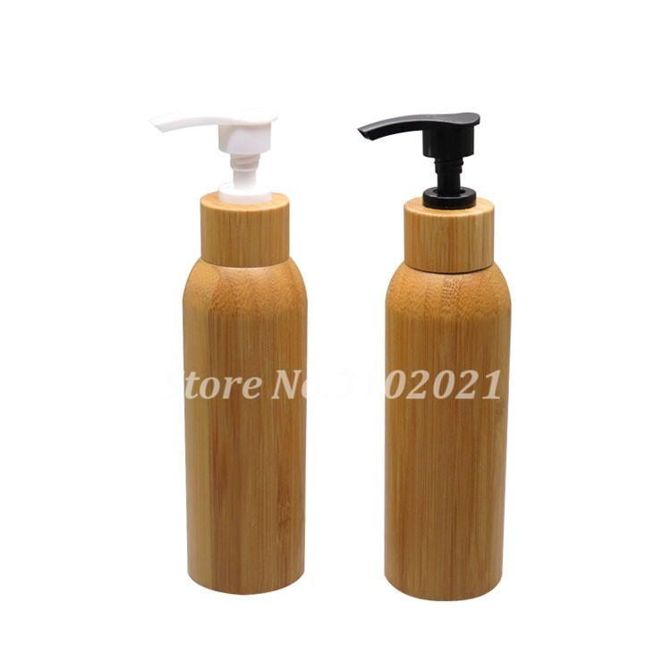 100 unids 120 ml de bambú vacío crema cosmético contenedor DIY cuidado del cuerpo / botella de loción de champú con negro / blanco Pulse cubierta tapa tapa