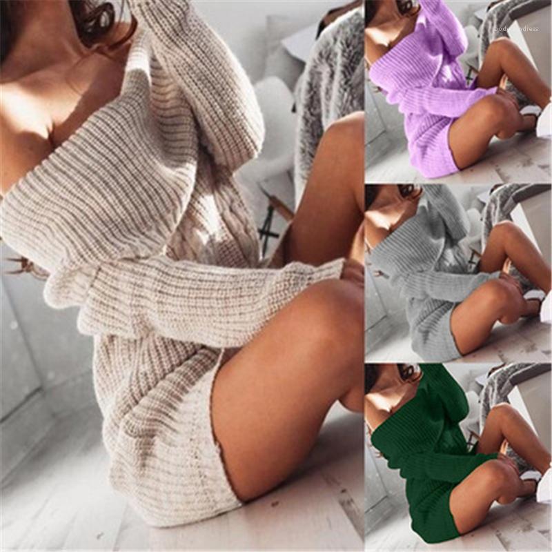 Rock weibliche frühling lässig solide farbe sexy bodycon kleid womens trägerlose pullover dress mode trend slash hals langarmes Gesäß