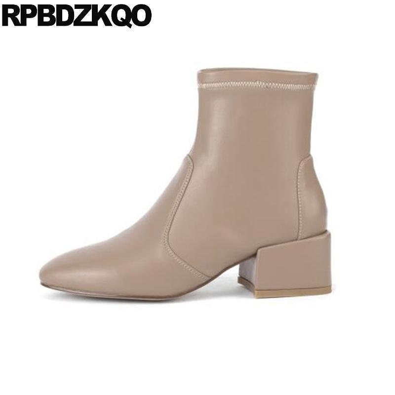 Bottines Bloc Block Femmes Bottines Bottines Moyenne Heel Square Toe Slip sur Imperméable 2020 Automne Automne Court Chunky Taille occasionnelle 34 Chaussures