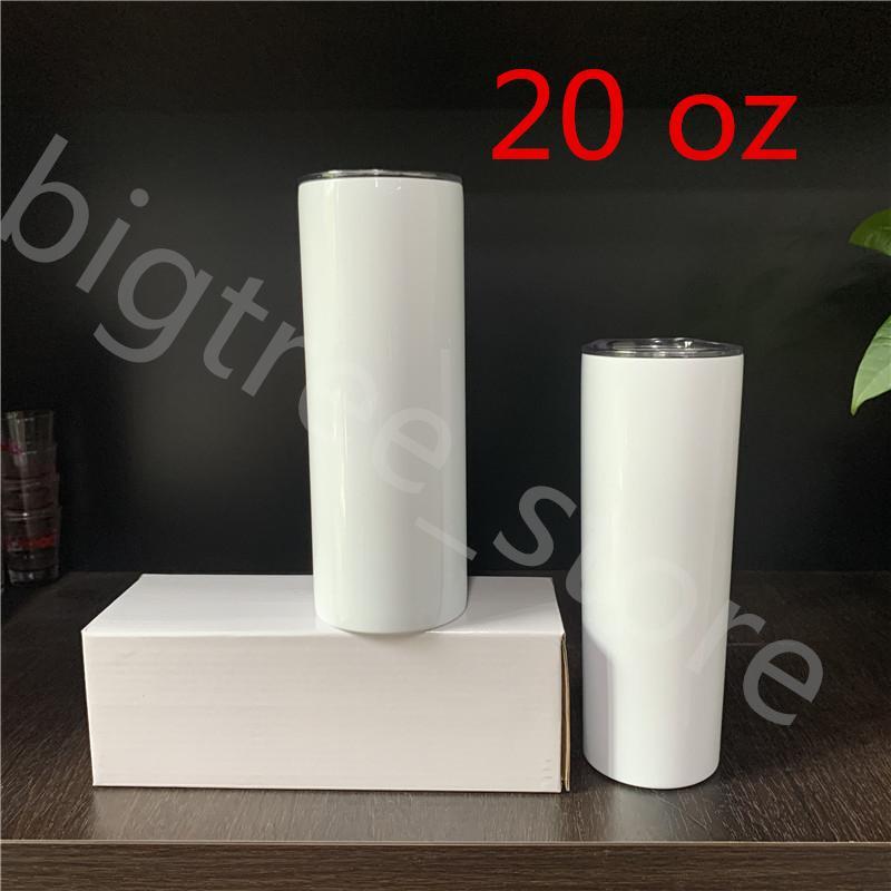 Sublimation maigre Gobelets double Blanks 20 oz fuselé en acier inoxydable Tumbler mural isolé Bouteilles d'eau voiture Tumbler mugs à café Can Bricolage