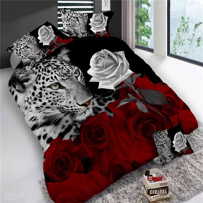 4 adet Kral Boyutu Lüks 3D Gül Yatak Setleri Kırmızı Renk Yatak Örtüsü Yorgan Kapak Seti Düğün Çarşaf Tiger / Yunus / Panda50 201103