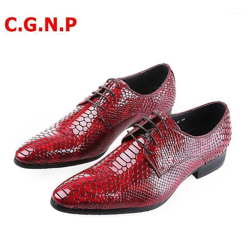C.G.N.P İngiliz Tarzı Yılan Doku Desen Sivri Burun Örgün Ayakkabı Erkekler Için Patent Deri Dantel-Up Elbise Ayakkabı Erkekler Düğün1