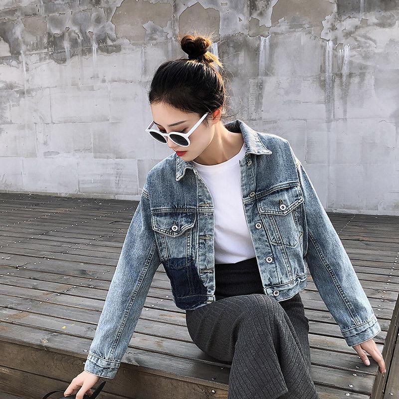 Les ins Red Jacket Net Denim Femme coréenne super feu mince court Hong Kong style polyvalent manches longues Top Fashion