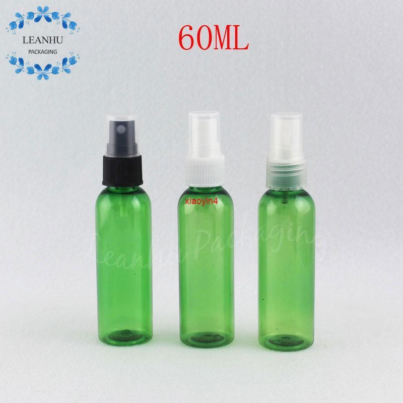 Bouteille en plastique vert de 60 ml avec pompe à pulvérisation, toner de la sous-bouteille de maquillage 60cc / Emballage de l'eau cosmétique (50 PC / lot) Bon forfait