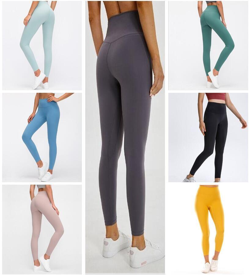 2021 Estilista para mujer LU High Vfu Yoga Pantalones Pantalones Leggings Yogaworld Mujeres Entrenamiento Entrenamiento Conjunto de fitness Desgaste Elástico Fitness Lady Mallas Llantas Sólidas