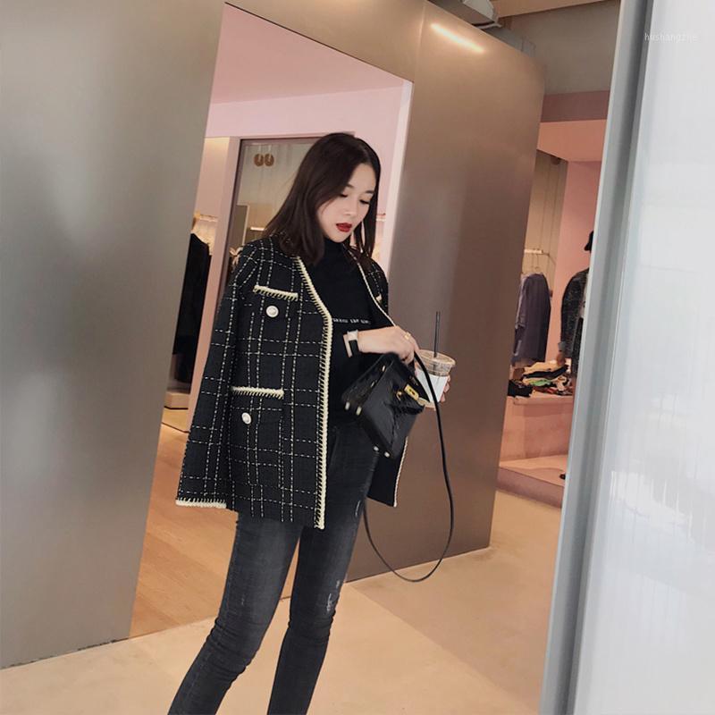 Nouveau Spring Automne Femme 2020 V Jouscule en tweed Corée Fashion Noir Plaid Coffret court 3