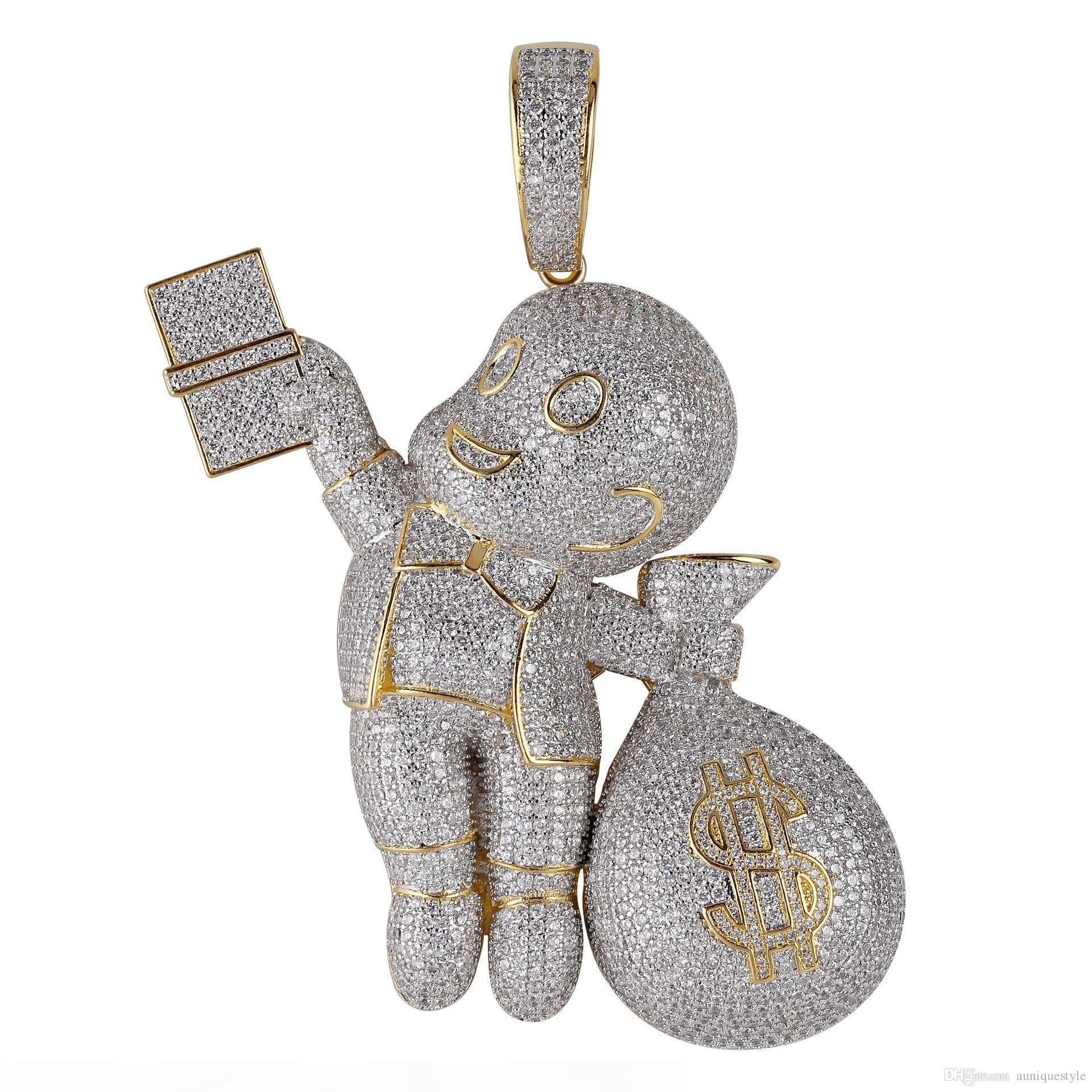 Pendentif pendentif hip hop bling chaînes bijoux hommes collier de luxe designer de luxe Diamond Cuban lince dessin animé mario argent sac rappeur DJ Charms