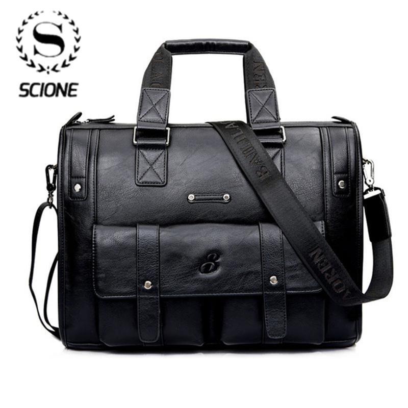 Scione Men Thicken PU Leather Briefcase Large Capacity Laptop Business Messenger Shoulder Bag High Quality Travel Office Handbag Q0112