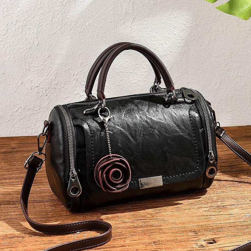 Fashion Leather Shoulder New Casual Large Capacity Retro Rose Pendant Women's Handbags Messenger Bags For Women Female Tote Q1118