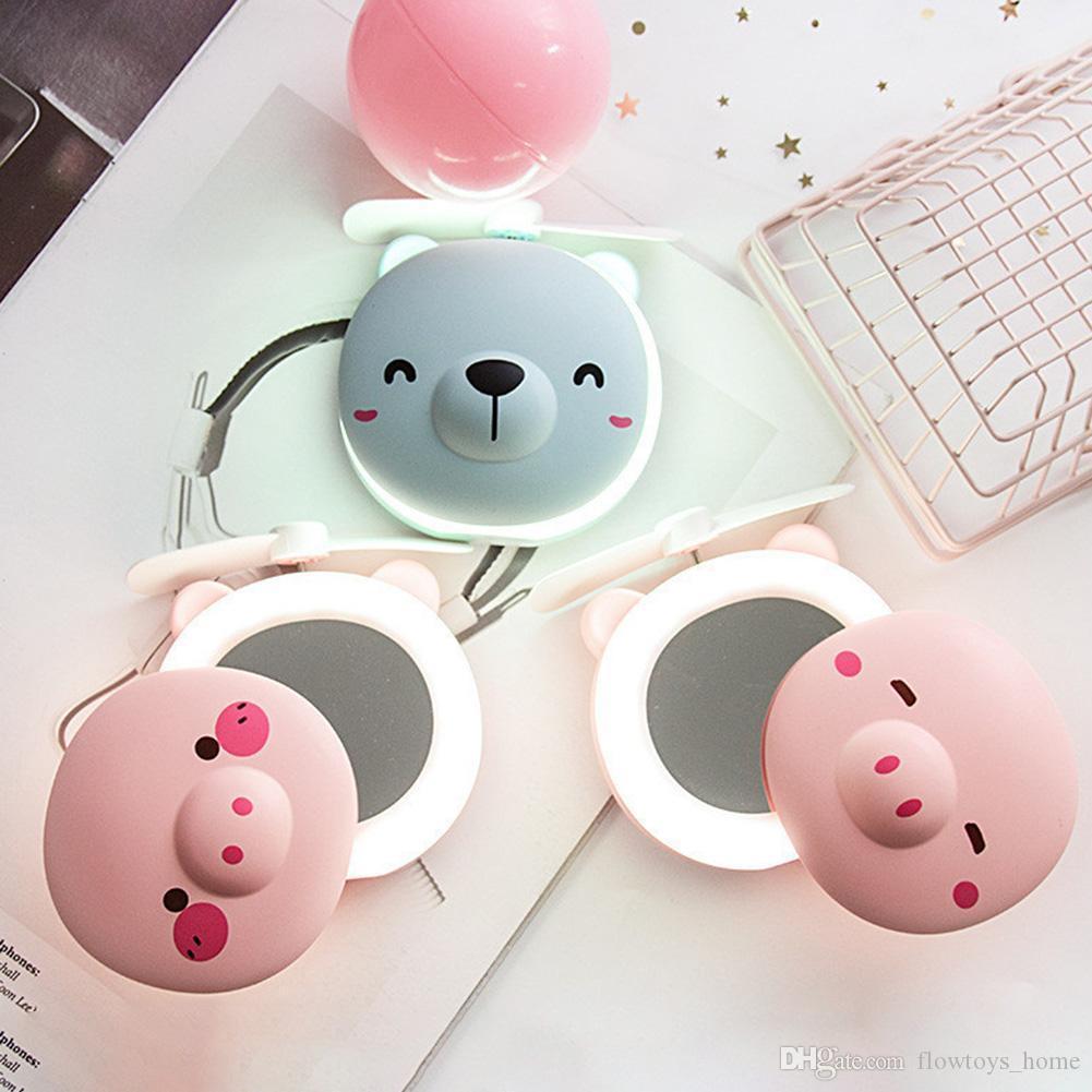 Mini przenośny śliczny kształt głowicy świnia wentylator wentylator Makeup Lusterka LED Napełnianie Światło Nawet będzie bezpieczny, nawet dotykając go nieoczekiwanie.