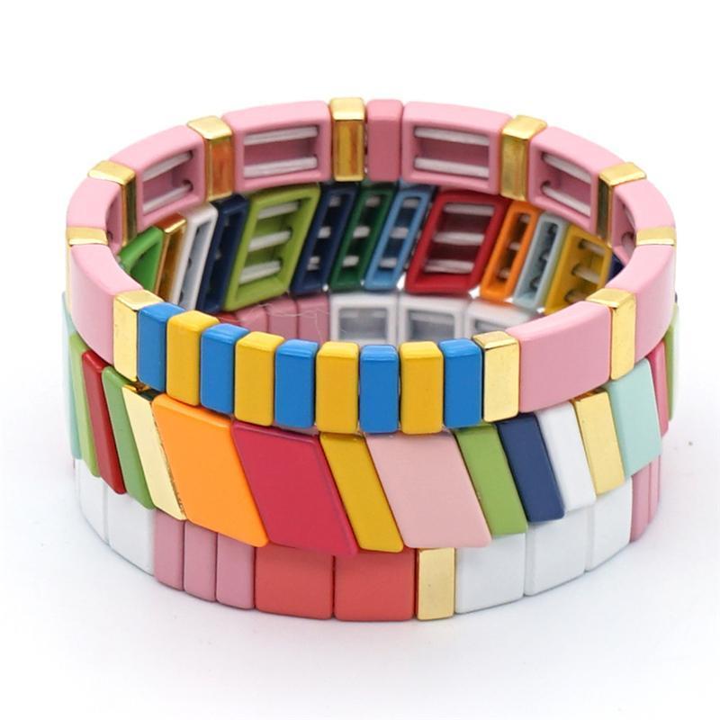 Heyuyao 3 pcs Bracelet arc-en-ciel Femmes 2020 Été en émail de tuile Beads Bracelets Femme Bijoux Bohemian Multicolore Tile Perle