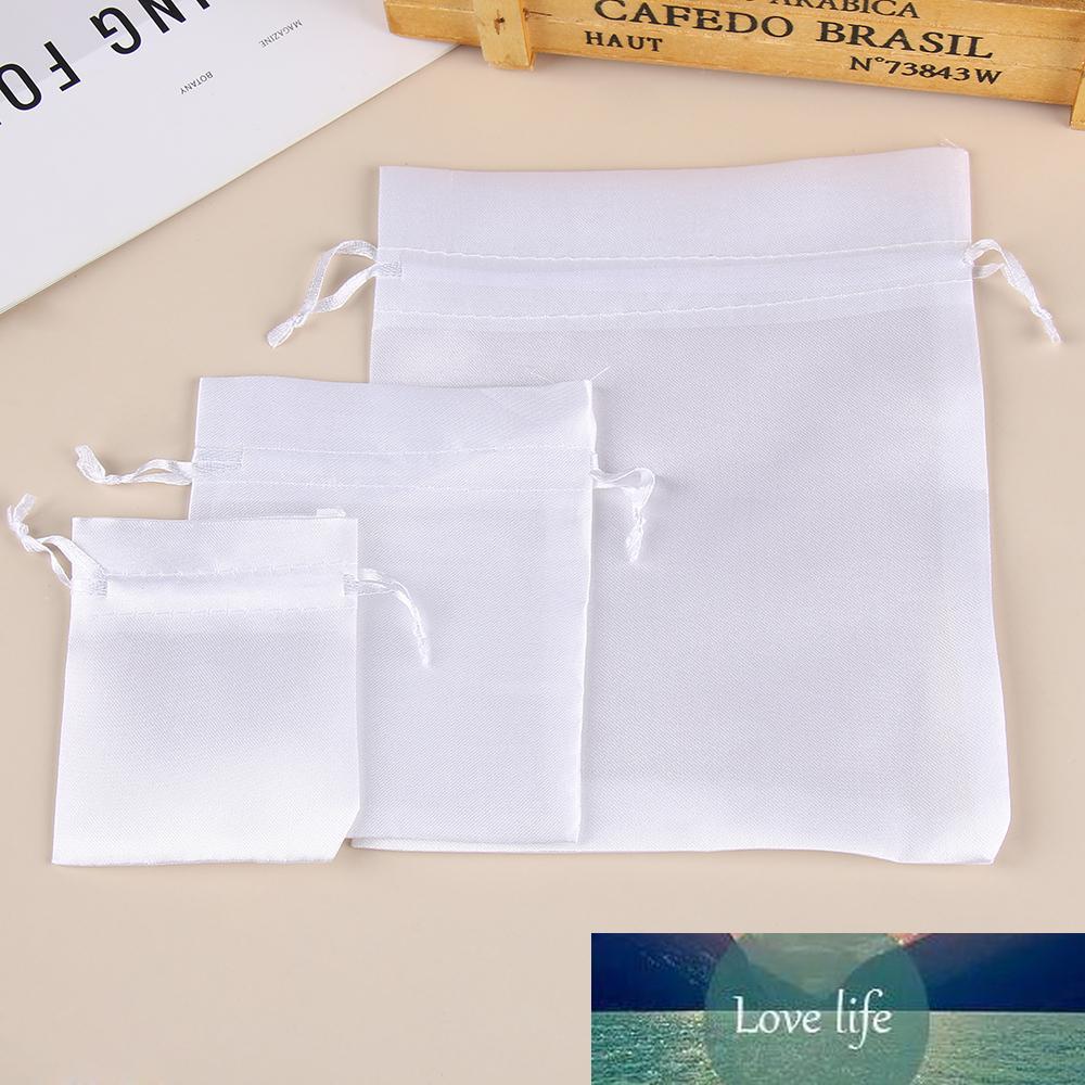 5Pcs Sıcak Beyaz Saten İpli Hediye Çanta Tarak / Saç / Şeker / Takı / kolye / Yüzük / Boncuk Çanta İpek Kumaş Çanta Seyahat Kılıfı Packaging