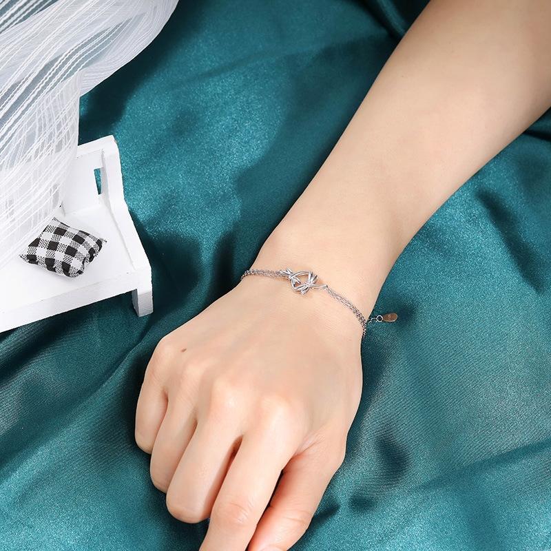 Versión coreana de la pulsera S925 de plata de las mujeres de la manera simple personalidad Mori pulsera de cadena doble dos libélulas vgm5J