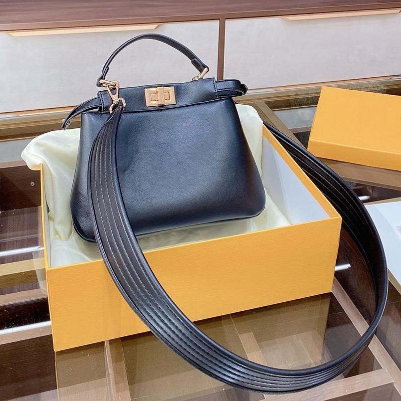 Ladies Tote Bag Smooth Leather Handbag Purse Removable Wide Strap Shoulder Bag F letter Turn Lock Crossbody Bag Zipper Wallet Clutch Bags